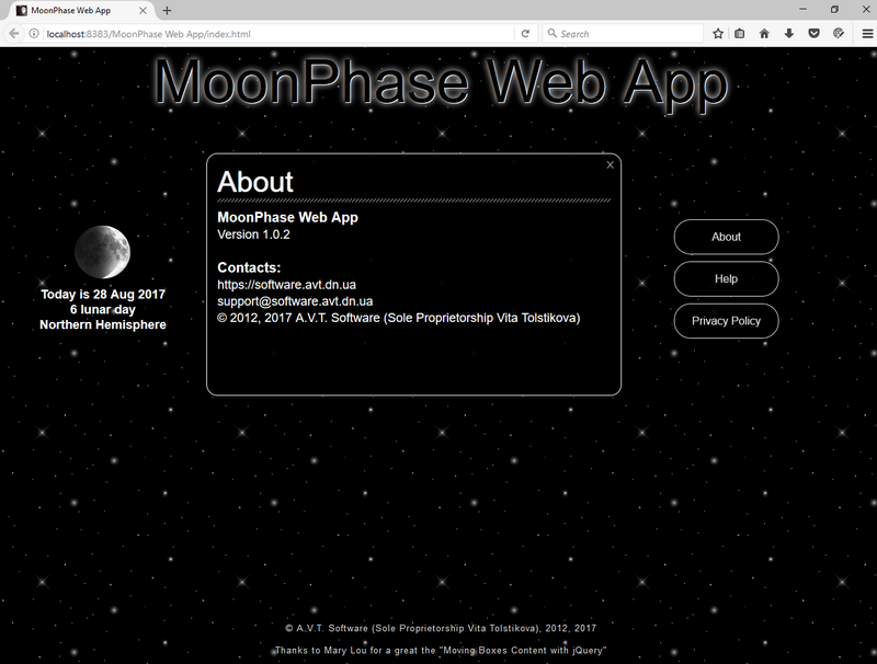 MoonPhase Web App, Firefox v 55.0.2, Screen resolution 1280x1024, © A.V.T. Software (Sole Proprietorship Vita Tolstikova), 2012, 2017.
