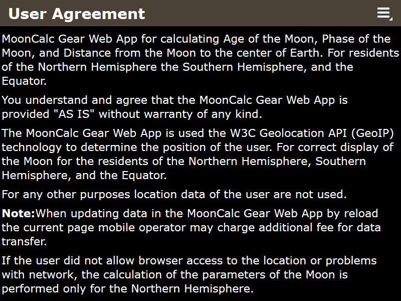 MoonCalc Gear Web App, User Agreement page, Firefox v 55.0.2 (Responsive Design Mode, 800x600), © A.V.T. Software (Sole Proprietorship Vita Tolstikova), 2014-2017