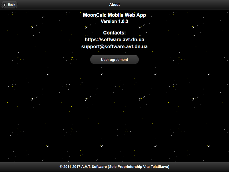 MoonCalc Mobile Web App, About page, Firefox v 55.0.2 (Responsive Design Mode, 1024x768), © A.V.T. Software (Sole Proprietorship Vita Tolstikova), 2011-2017