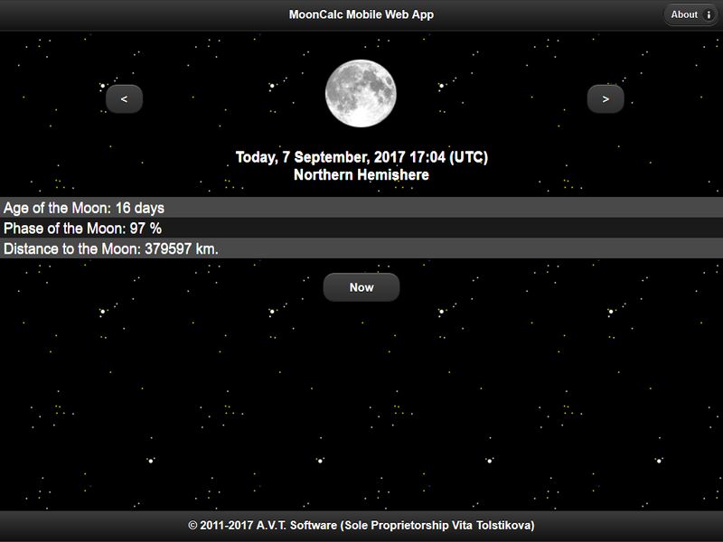 MoonCalc Mobile Web App, Main page, Firefox v 55.0.2 (Responsive Design Mode, 1024x768), © A.V.T. Software (Sole Proprietorship Vita Tolstikova), 2011-2017