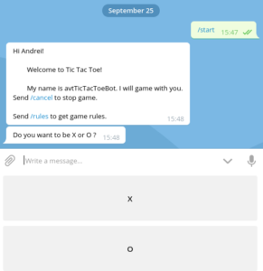avtTicTacToeBot. Custom keyboard to select a game letter (X or O)