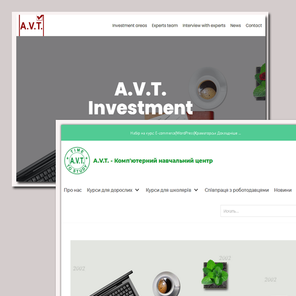 A.V.T. Software. Home page. S2. Web projects on WordPress